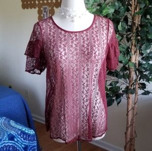BCBgeneration ruffle sleeve sheer lace top M